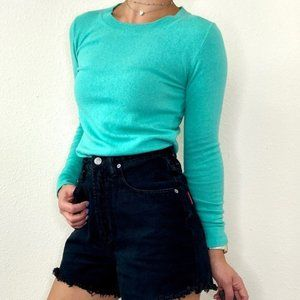 J.Crew Mint Green Cotton Wool Teddie Sweater